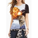 Bomb Cat Print Round Neck Slim Cool Tee