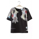 Scoop Neck Graffiti Print Key Hole Back Short Sleeves Tee