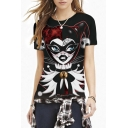 Black Clown Girl Print Round Neck Slim Tee