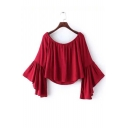 Red Boat Neckline Bell Sleeves Cropped Blouse
