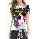 Abstract Colorful Skull Print Short Sleeve Tee
