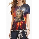 3D Crater Cat Print Round Neck Short Sleeve Tee