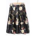 Floral Print High Waist A-Line Midi Skirt