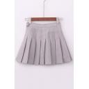 Plain Pleated Lovely Mini Flared skirt