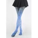 High Waist Galaxy Print Skinny Pantyhose