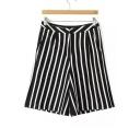 High Waist Zipper Fly Vertical Stripes Loose Knit Shorts