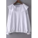 Plain Round Neck Ruffle Front Sheer-Paneled Shoulder Sweatshirts