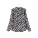 Stand Up Neck Ruffle Detail Floral Print Loose Shirt