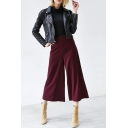 Plain High Waist Wide Leg Cropped Pants