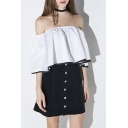 Off The Shoulder Ruffles Color Block Hem Cropped Blouse