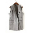Women's Elegant Lapel Sleeveless Covered button Commuter Clothes&Weskirt