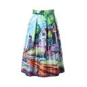 Landscape Print Peasant Imitation Silk Midi Skirt