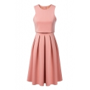 False Two Round Neck Two Layers Sleeveless Pleated Dress
