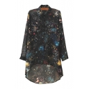Chiffon High Low Star Print Long Sleeve Oversize Shirt