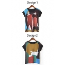 Vintage Beauty Print Color Block Patchwork Short Sleeve Tee