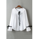 White Bow Tie Detail Doll Collar Loose Long Sleeve Blouse