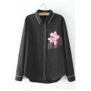 Lapel Floral Print Button Down Long Sleeve Shirt
