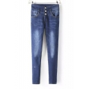 High Waist Button Fly Washed Blue Skinny Jeans
