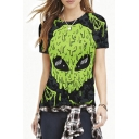 Green Alien & Skull Print Short Sleeve Slim Tee