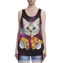 Red Scoop Neck Hamburger Pizza Cat Galaxy Print Tank