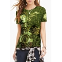 3D Extraterrestrial Print Round Neck Short Sleeves Cool Tee