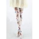 White High Waist Cute Bear Print Stripes Pantyhose