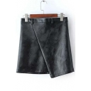 Black PU Zipper Fly Wrap Asymmetric Skirt