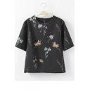 Black Floral Print Round Neck Half Sleeve Loose Tee