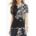 Black Cool Lion Print Round Neck Short Sleeve Tee
