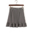High Waist Plaid Monochrome Flared Skirt