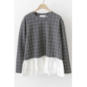 Plaid Patchwork Peplum-Hem Round Neck Blouse