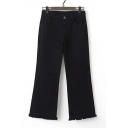 Black One Button Ripped Hem Ankle-Length Flared Jeans