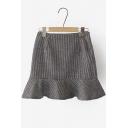 Houndstooth Zipper Detailed Flippy Mini Skirt