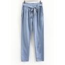 Blue Zip Side Double Pockets Loose Harem Pants with Belt
