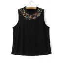 Black Flower Embroiery Round Neck Sleeveless Tee&Tank