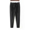 Casual Black Bow-Belt Pleated Zipper Harem Pants