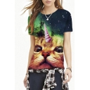 3D Horned Cat Galaxy Print Short Sleeve Tee