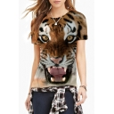 Brown 3D Tiger Print Round Neck Short Sleeve Tee