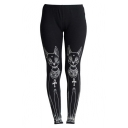 Black Elastic Waist Cartoon Cat Print Skinny Leggings
