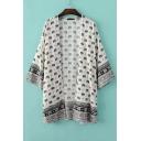Tribal Scarf-Print Batwing Sleeves Kimono Cape