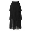 Plain Elastic Waist Layered Gauze Maxi Skirt