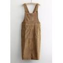 Vintage Corduroy Column Overalls Dresses With Pockets Design