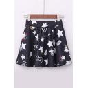 Black Stars Print Elastic Waist Skirts