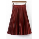 Plain Elastic Waist Midi Pleated Skirts