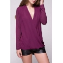 Casual Plain Knitted V-Neck Draped Wrap Blouse