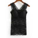 Plain Sexy V-Neck Lace Sheer Slim Tank