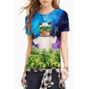3D Cat Print Round Neck Short Sleeve Tee
