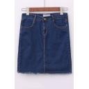 Sheath Mini Pocket High Waist Denim Skirt
