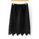 Elastic Waist Plain Leaf Crochet Asymmetrical Hem Midi Skirt