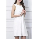 Plain White Loose Scoop Neck Sleeveless Mini Dress